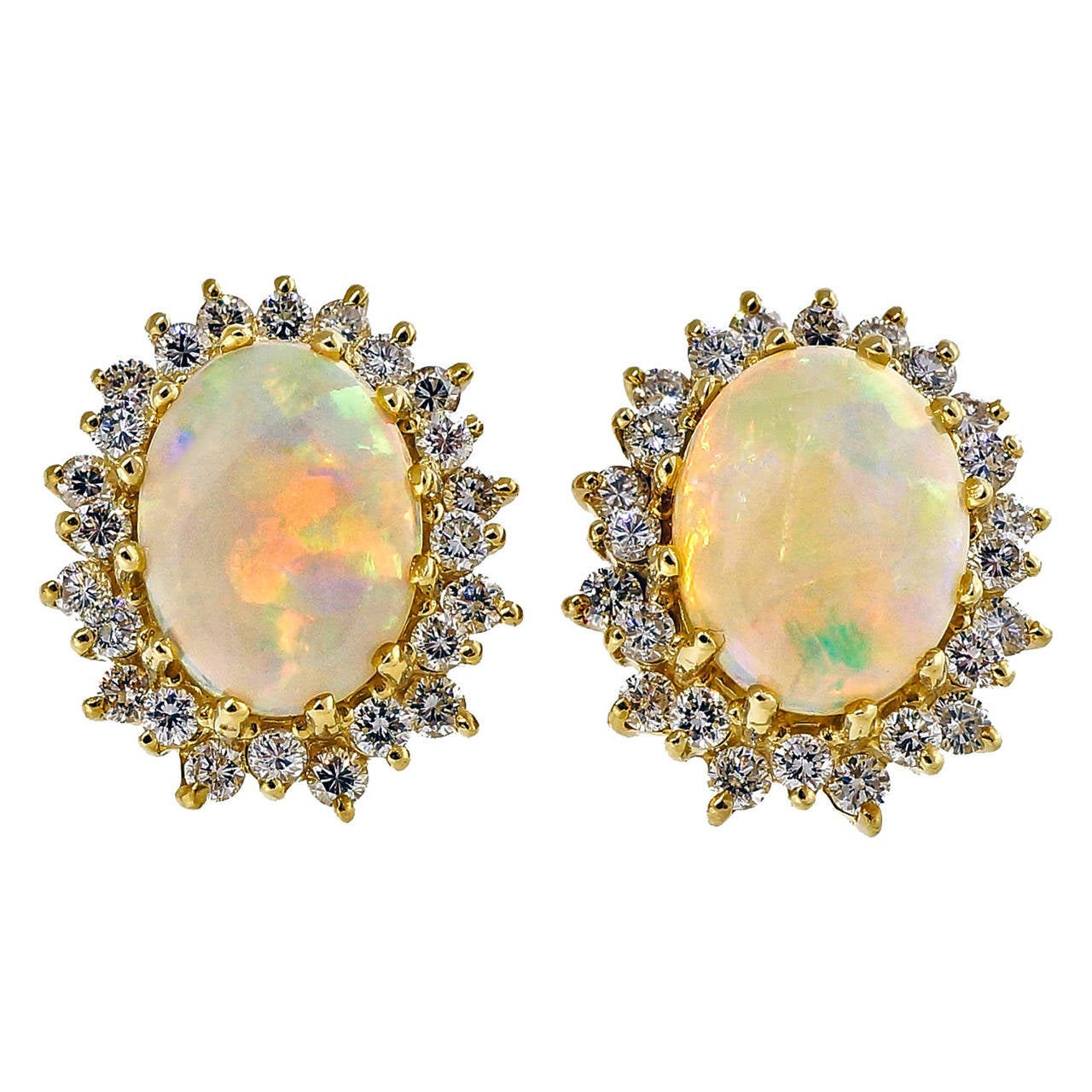 Oval Opal and Diamond White Gold Earrings