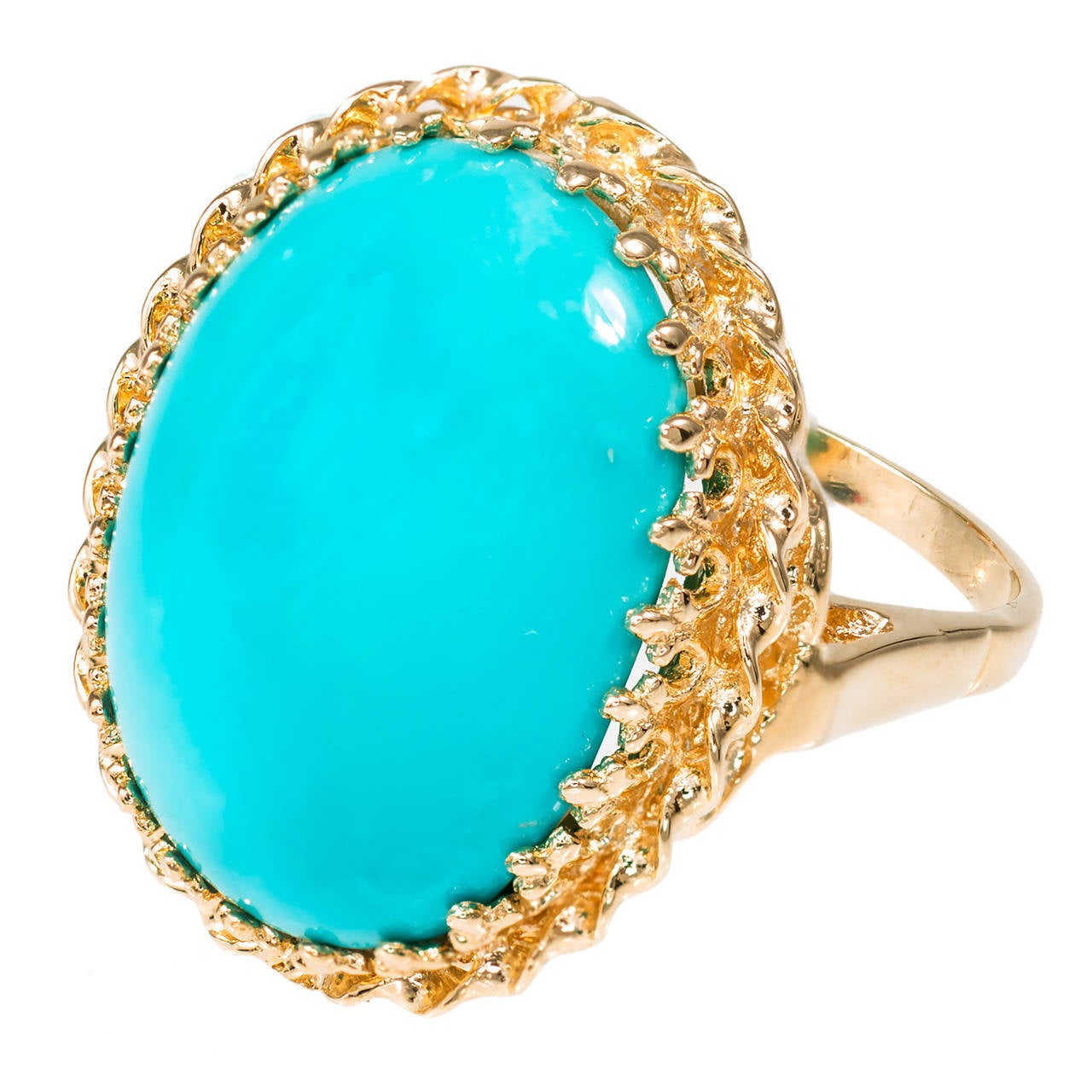 Persian Natural Turquoise Pink Gold Ring At 1stdibs