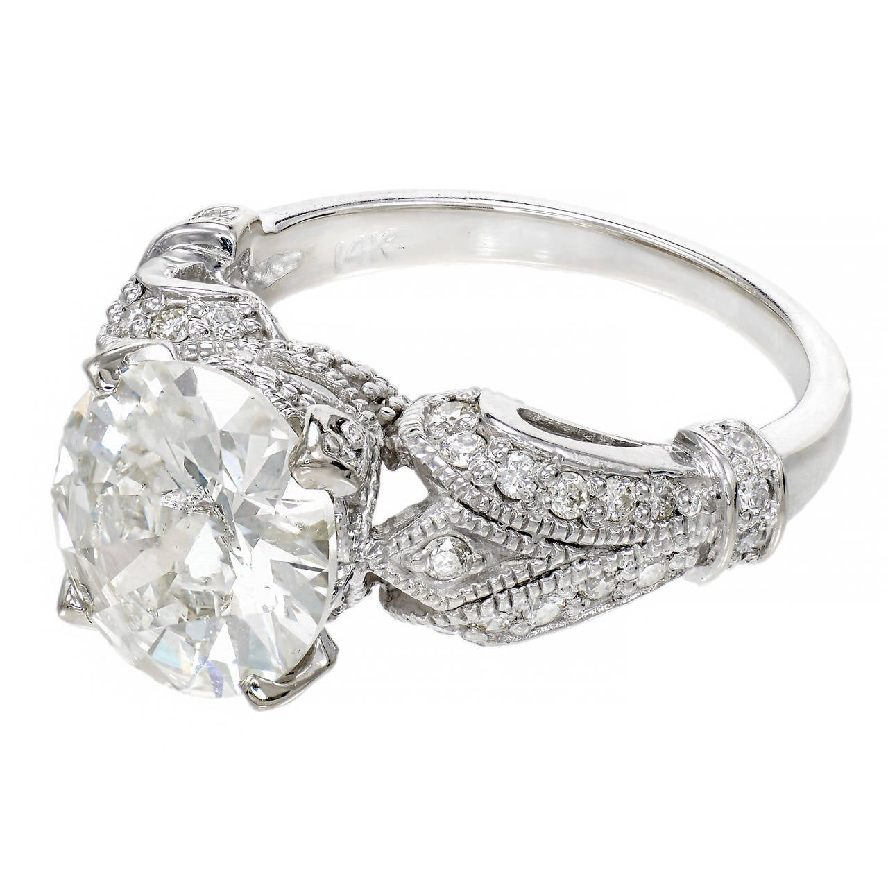 Diamond white gold engagement ring at 1stdibs for White diamond wedding ring