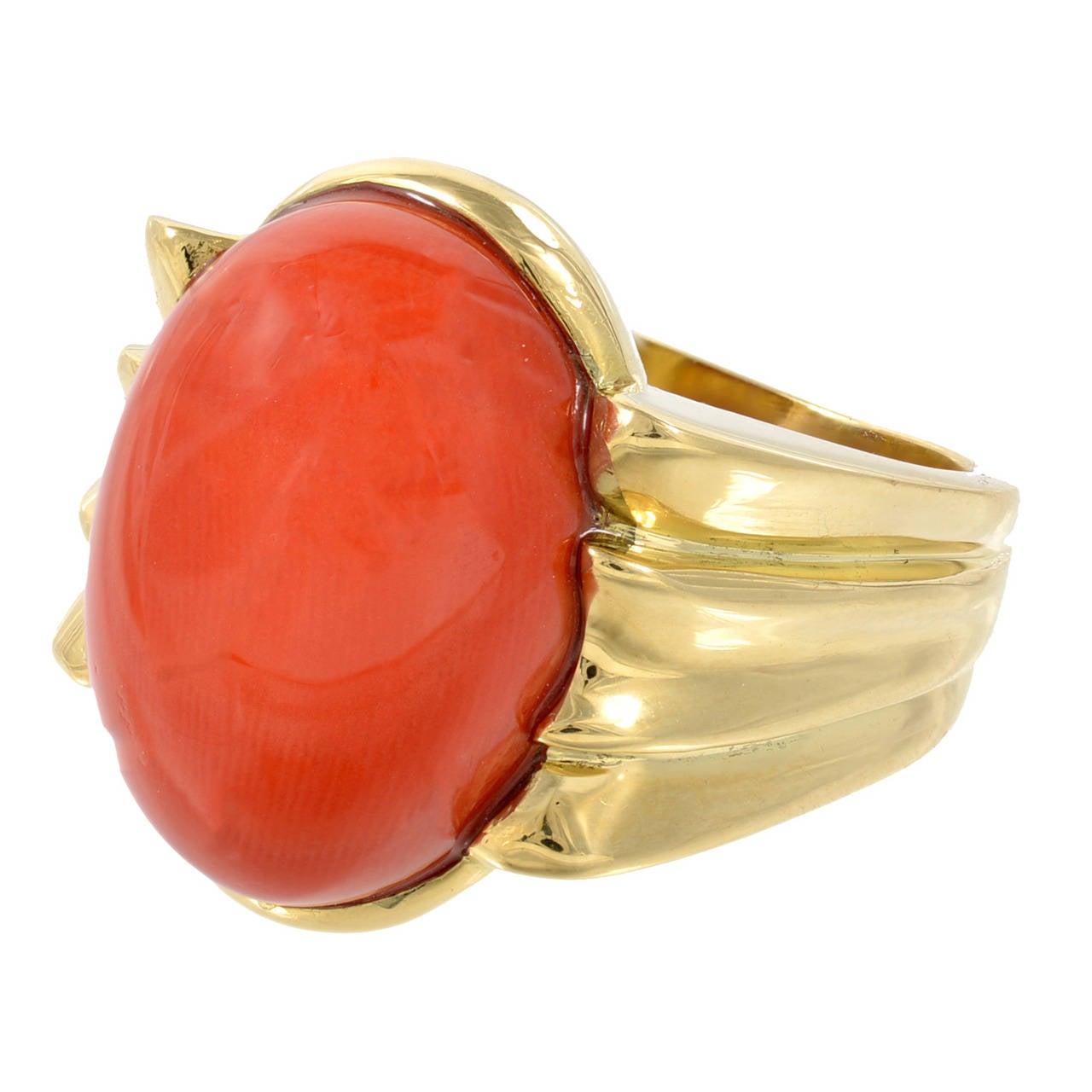 oval reddish orange coral yellow gold ring at 1stdibs