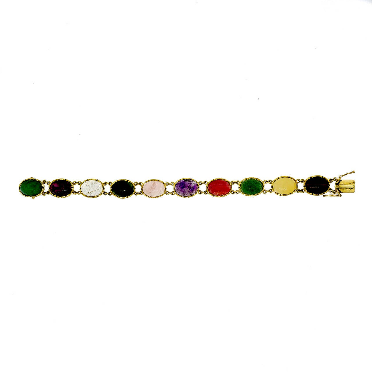 Natural Multi Color Quartz Yellow Gold Bracelet For Sale