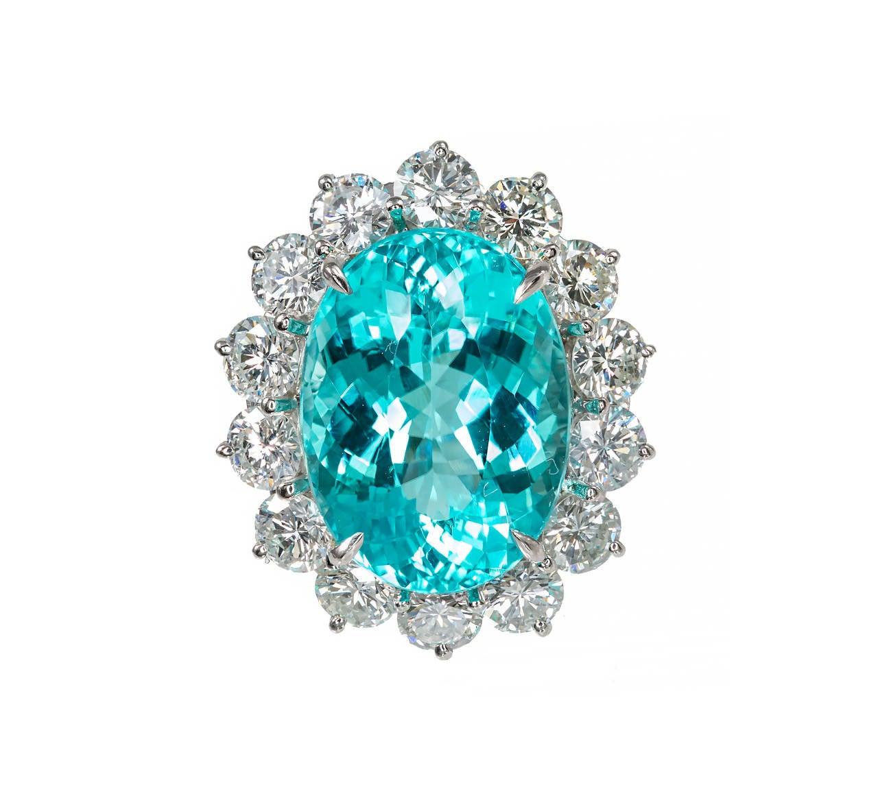 Blue Paraiba Tourmaline Diamond Platinum Ring 2