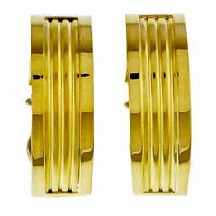Italian Yellow Gold Clip Post Earrings