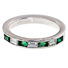 Emerald and Diamond White Gold Wedding Band Ring