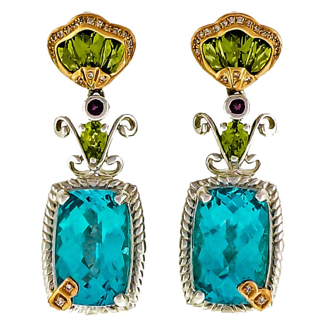 Bellarri Peridot Topaz DIamond Silver Pink Gold Dangle Earrings 1
