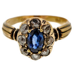 Victorian Sapphire Diamond Silver Yellow Gold Ring