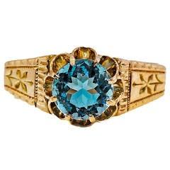Victorian Aquamarine Pink Gold Antique Ring
