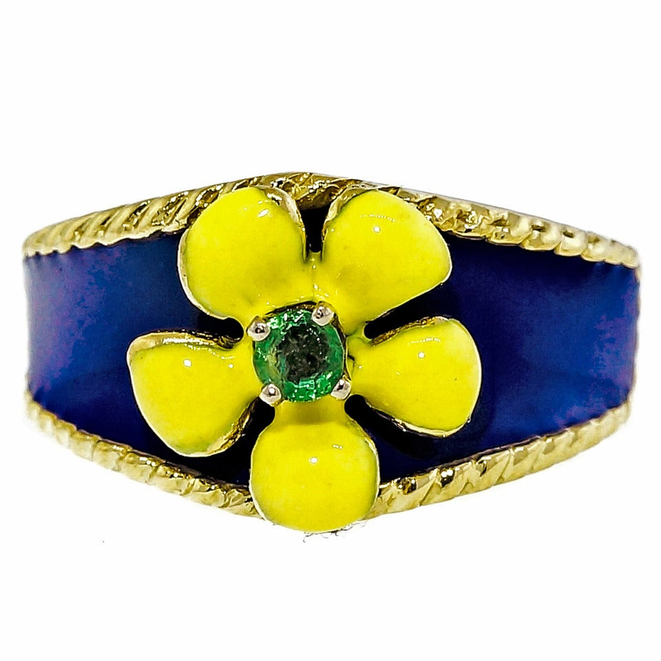 Emerald Yellow Gold Enamel Flower Ring For Sale