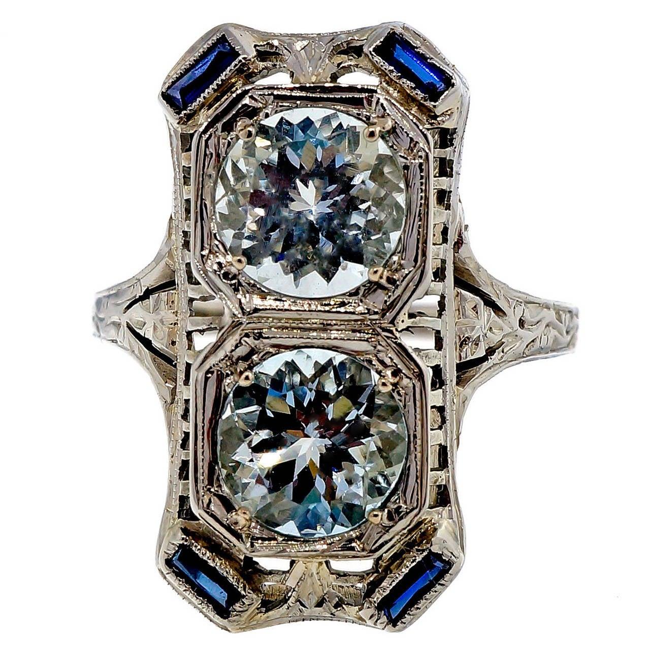 Art Deco Aquamarine Sapphire White Gold Filigree Ring 1