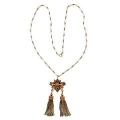 Victorian Natural Pearl Pink Gold Tassel Pendant Necklace