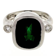 Green Tourmaline Diamond White Gold Ring