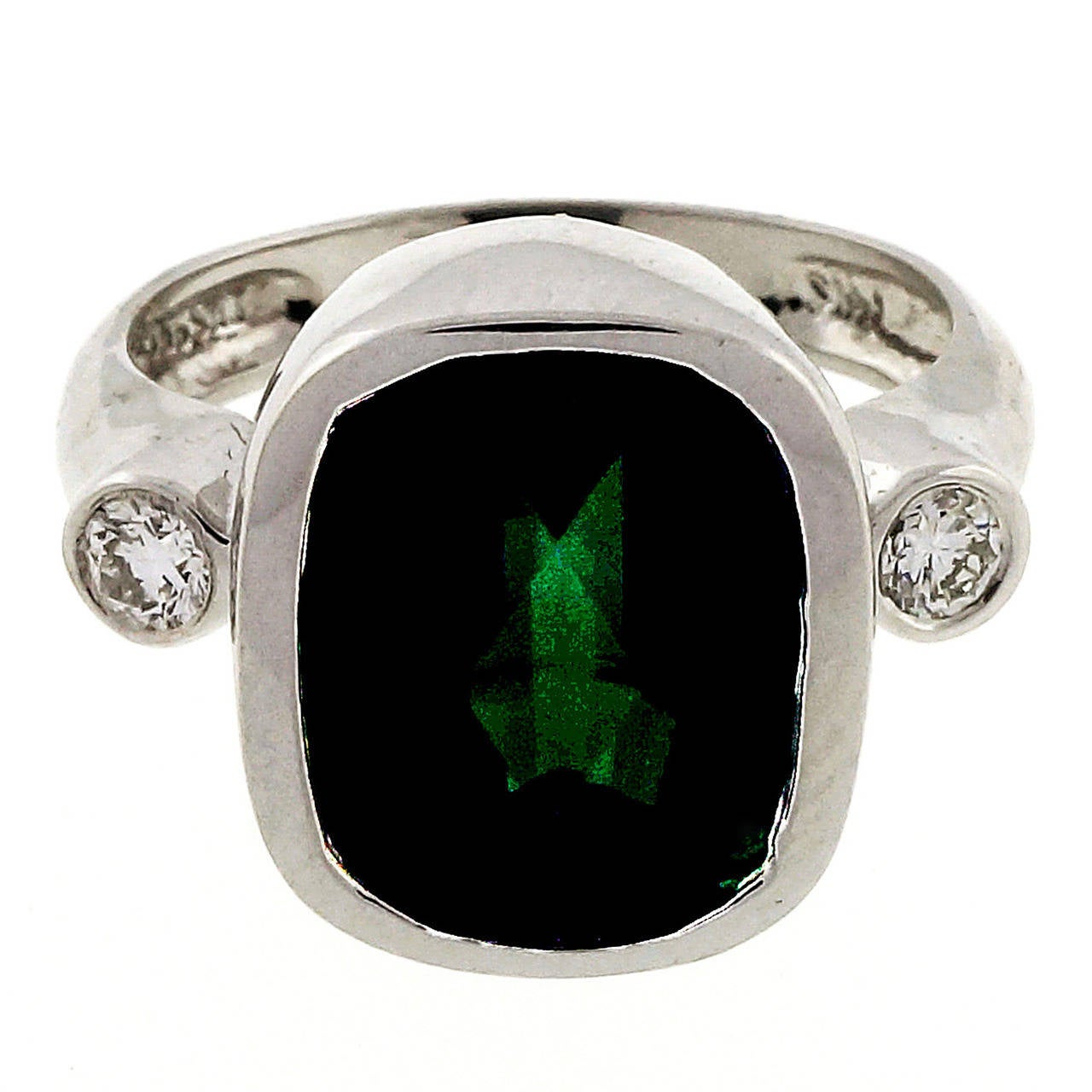 green tourmaline diamond white gold ring for sale at 1stdibs. Black Bedroom Furniture Sets. Home Design Ideas