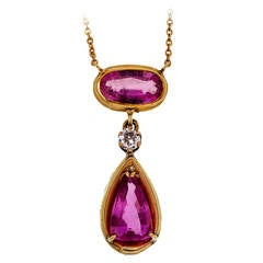 Oval Pear Pink Sapphire Diamond Pink Gold Pendant Necklace