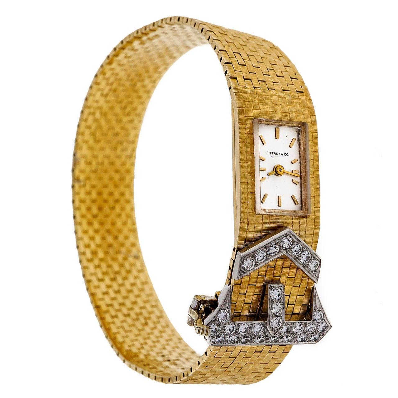 Tiffany & Co Lady's Yellow Gold and Diamond Buckle Bracelet Watch circa 1950s