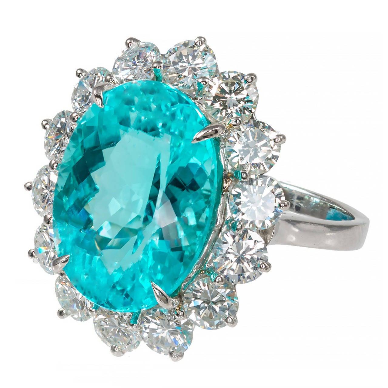 Blue Paraiba Tourmaline Diamond Platinum Ring 1