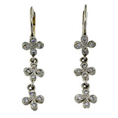 Four Petal Diamond Platinum Dangle Earrings