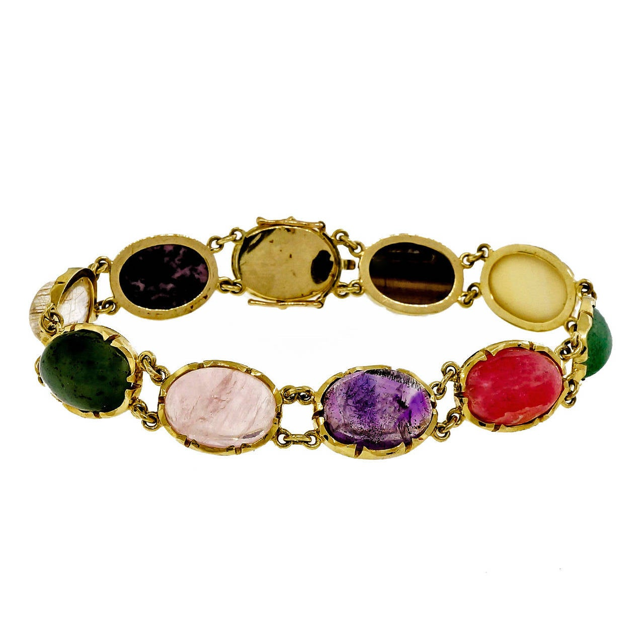 Natural Multi Color Quartz Yellow Gold Bracelet