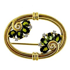 Tiffany & Co. Tourmaline Diamond Yellow Gold Pin