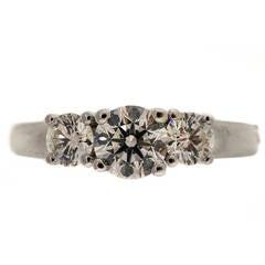 Birks Three Stone Diamond Platinum Engagement Ring