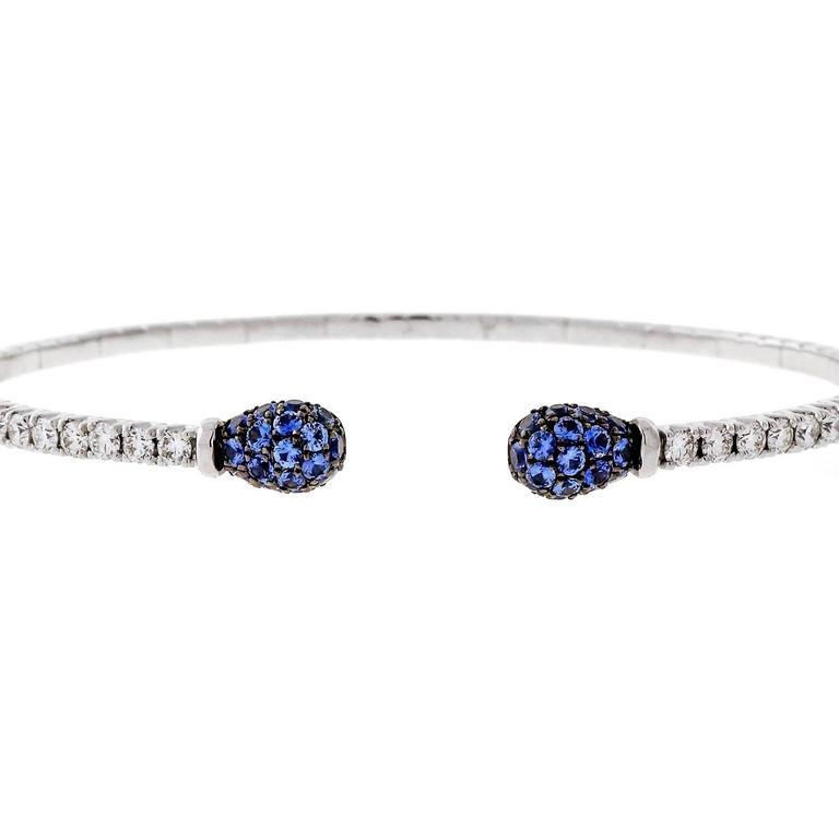 Spark Sapphire Diamond Gold Cuff Bracelet 4