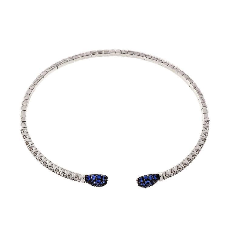 Spark Sapphire Diamond Gold Cuff Bracelet 5