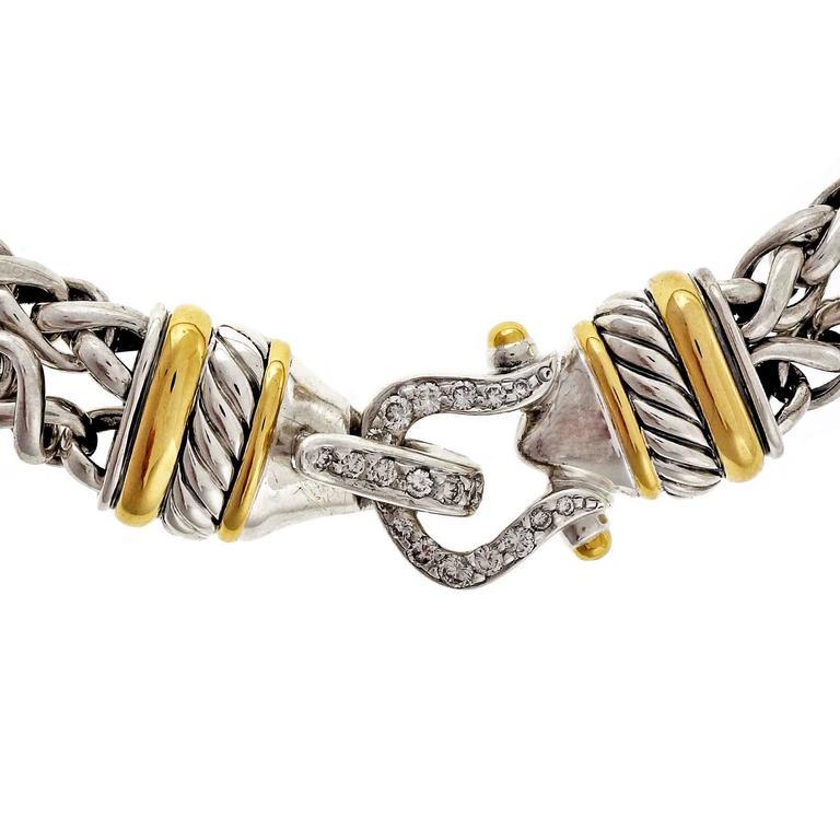 David Yurman Diamond Silver Gold Double Buckle Necklace At