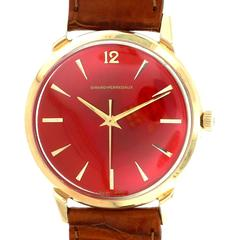 Girard Perregaux Yellow Gold Custom Colored Red Dial Automatic Wristwatch