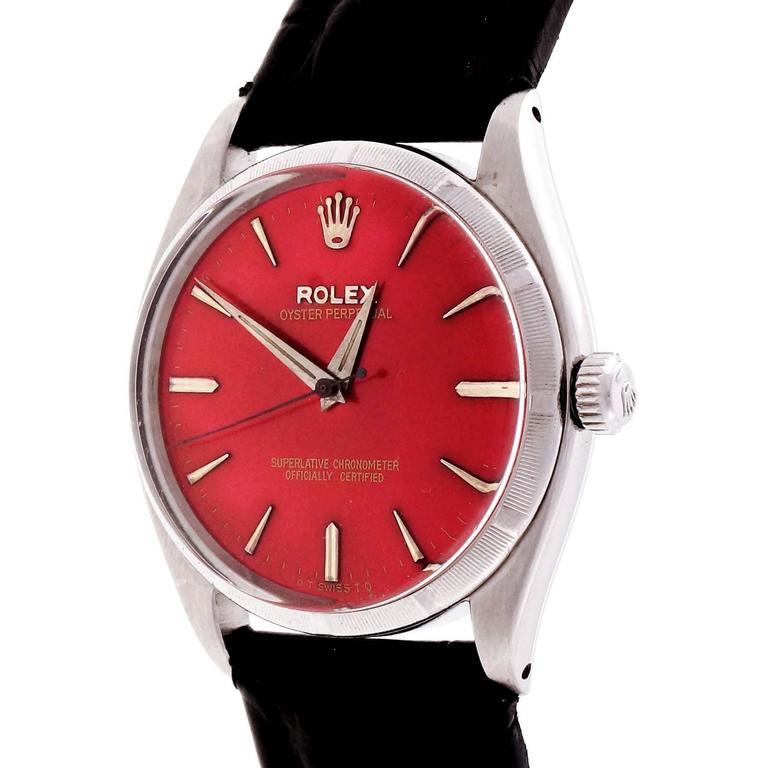 Rolex Stainless Steel Custom Colored Red Dial Wristwatch Ref 6565 4