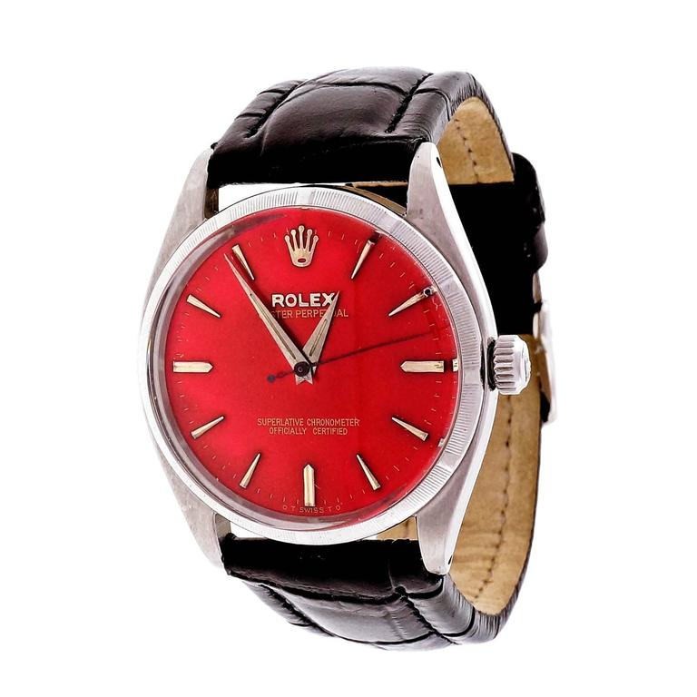 Rolex Stainless Steel Custom Colored Red Dial Wristwatch Ref 6565 7