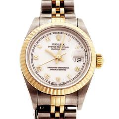 Rolex stainless Steel Yellow Gold Lady's Datejust Jubilee Wristwatch Ref 69173