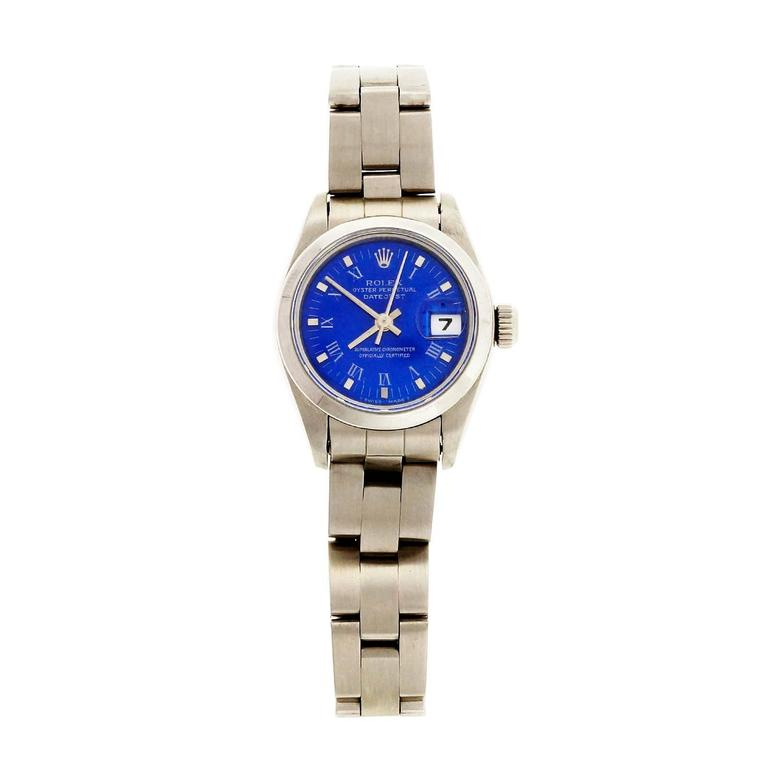 Women's Rolex Lady's Stainless Steel Datejust Custom Colored Dial Wristwatch Ref 69160 For Sale