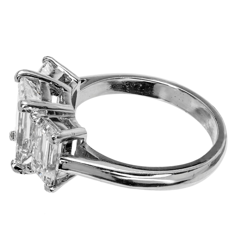 Peter Suchy Emerald Cut Diamond Three Stone Platinum Ring at 1stdibs