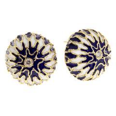 Blue White Enamel Diamond Gold Domed Clip Post Earrings