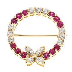 Tiffany & Co. Victoria Diamond Ruby Yellow Gold Circle Pin Brooch