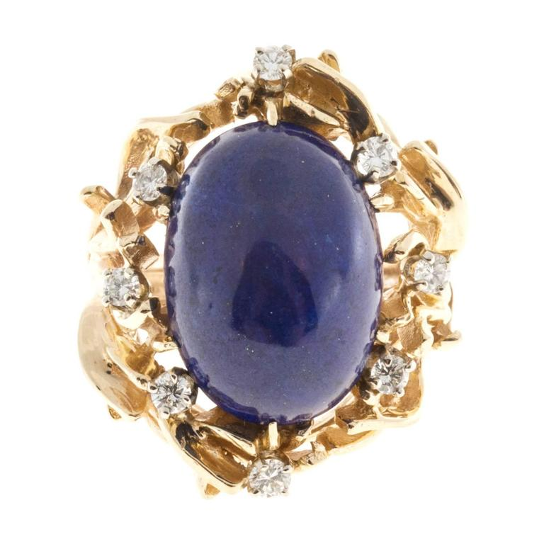 Natural Blue Lapis Diamond Gold Ring 7