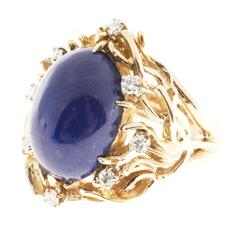 Natural Blue Lapis Diamond Gold Ring