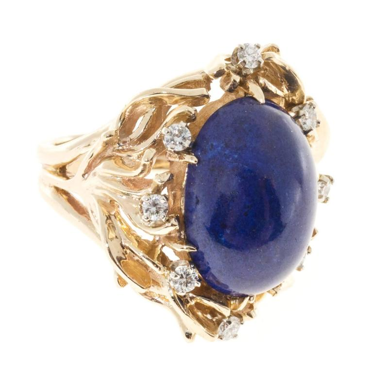 Natural Blue Lapis Diamond Gold Ring 4