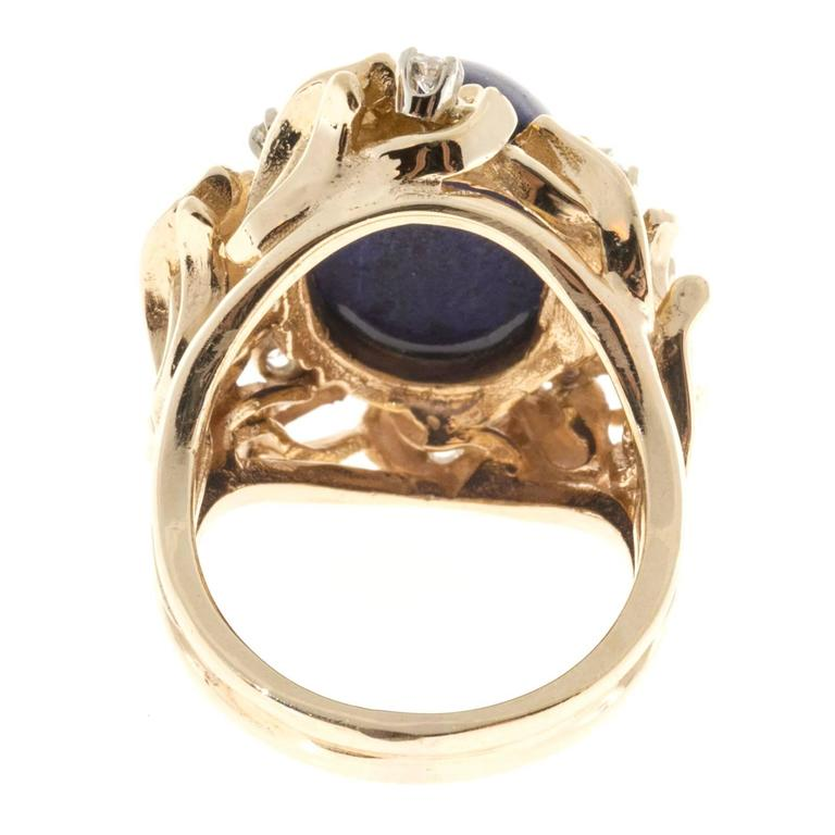 Natural Blue Lapis Diamond Gold Ring For Sale 2