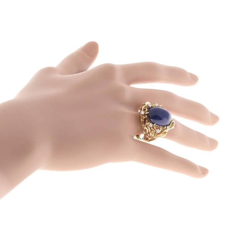 Natural Blue Lapis Diamond Gold Ring 5