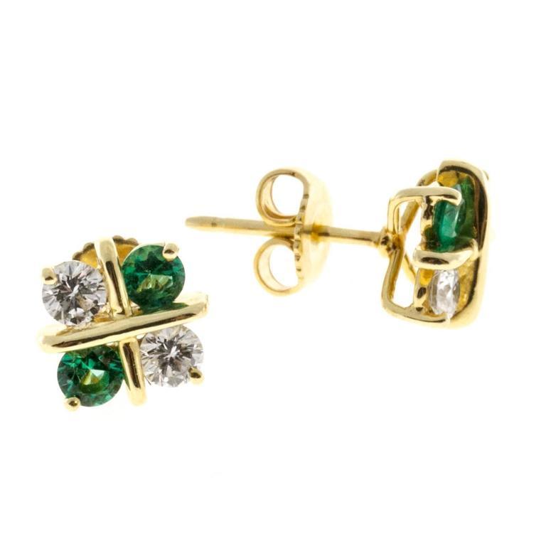 Diamond Emerald Gold X Design Earrings For Sale at 1stdibs