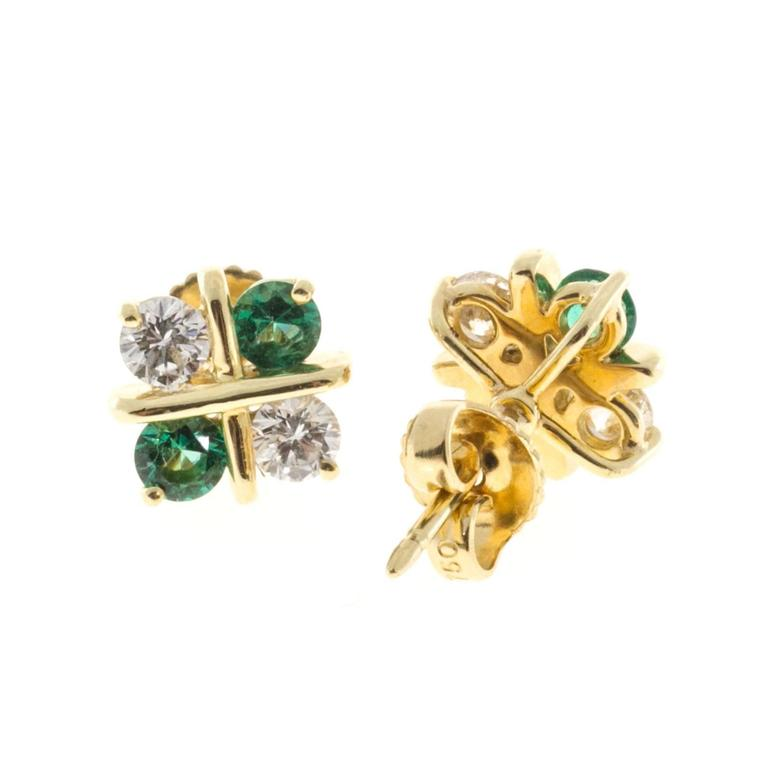 Diamond Emerald Gold X Design Earrings In Good Condition For Stamford Ct