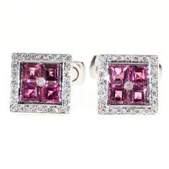 Pink Tourmaline Diamond Gold Cufflinks