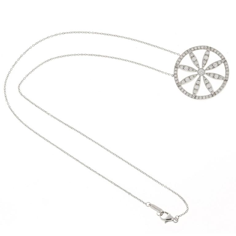 12c844d41 Tiffany & Co. Diamond Platinum Circle Flower Pendant Necklace In Good  Condition For Sale In