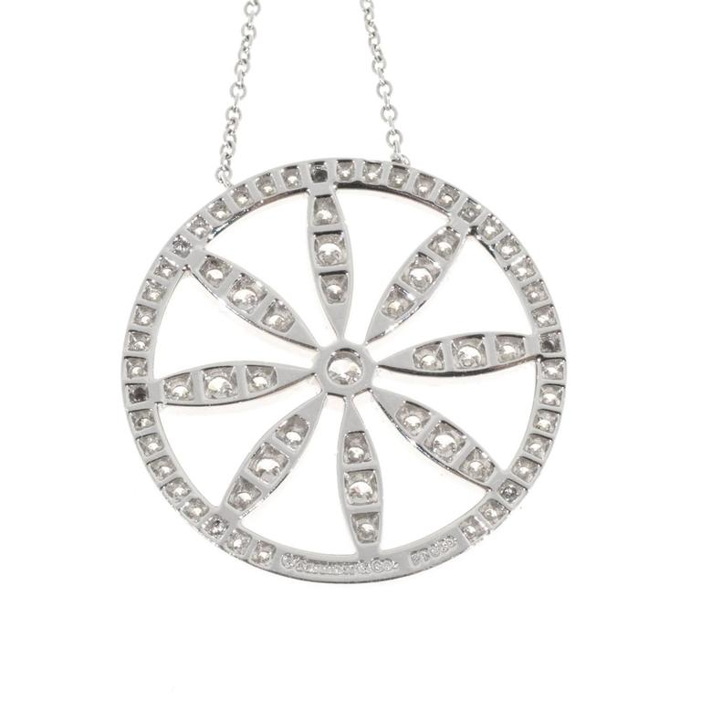 9c832e2b1 Tiffany & Co. Diamond Platinum Circle Flower Pendant Necklace For Sale 2