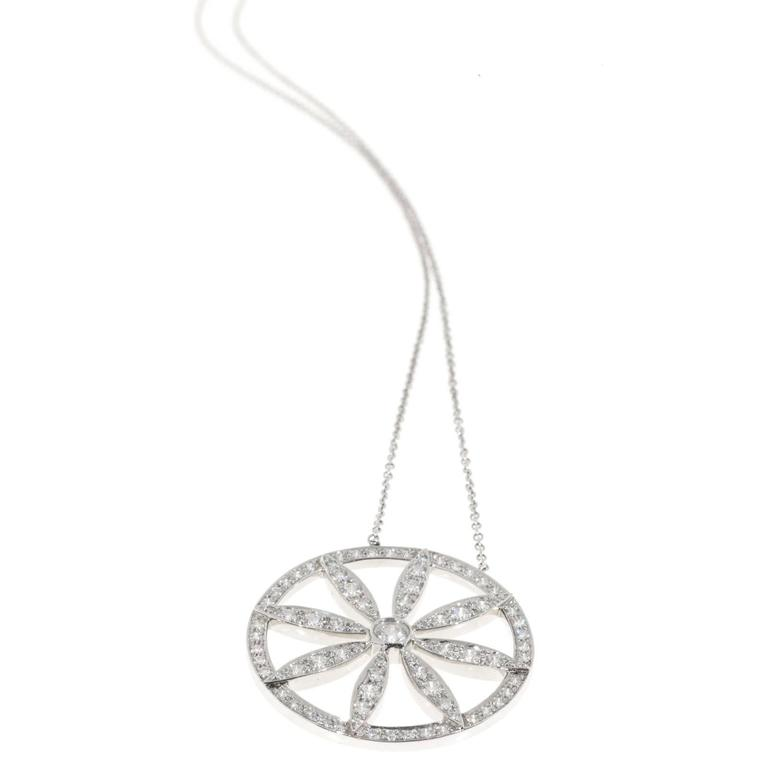 aa25d8036 Tiffany & Co. Diamond Platinum Circle Flower Pendant Necklace For Sale 1