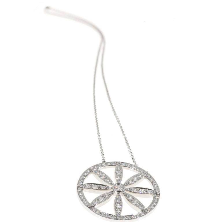 Tiffany & Co. Diamond Platinum Circle Flower Pendant Necklace For Sale 4
