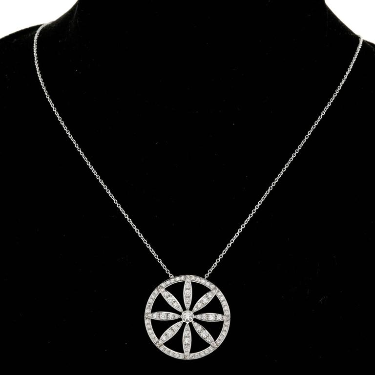 907083e71 Tiffany & Co. Diamond Platinum Circle Flower Pendant Necklace For Sale 3