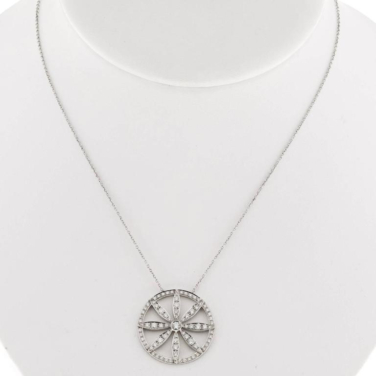 da53d8abb Tiffany & Co. Diamond Platinum Circle Flower Pendant Necklace For Sale 5