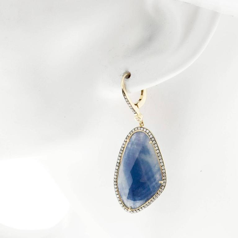Sapphire Diamond Halo Gold Dangle Earrings  4