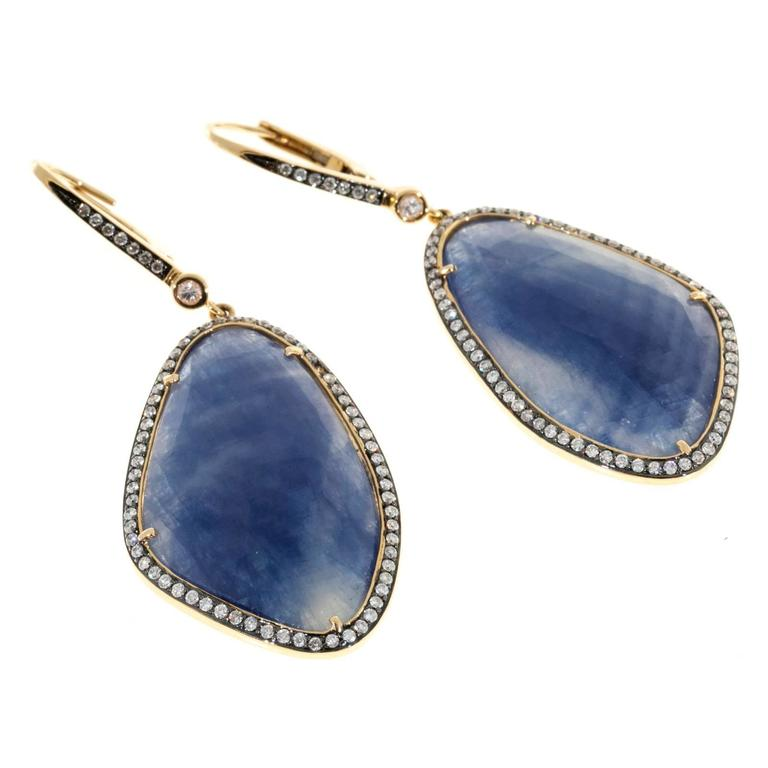 Sapphire Diamond Halo Gold Dangle Earrings  In Good Condition For Sale In Stamford, CT